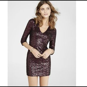 Red Sequin Sparkle Dress from Express
